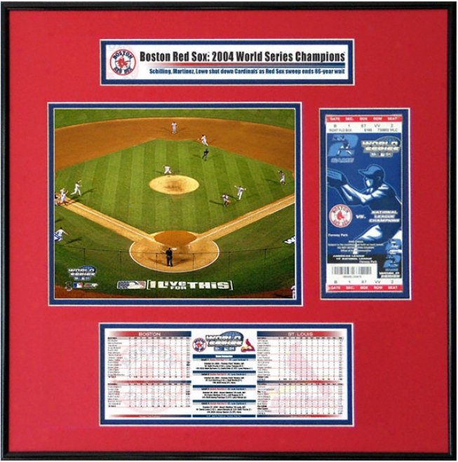 Boston Red Sox - Game 4 Final Play - 2004 World Series Ticket Frame Jr.