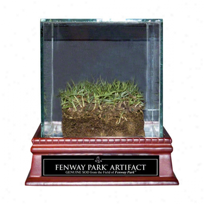 Boston Red Sox Game Used Sod With Display Case