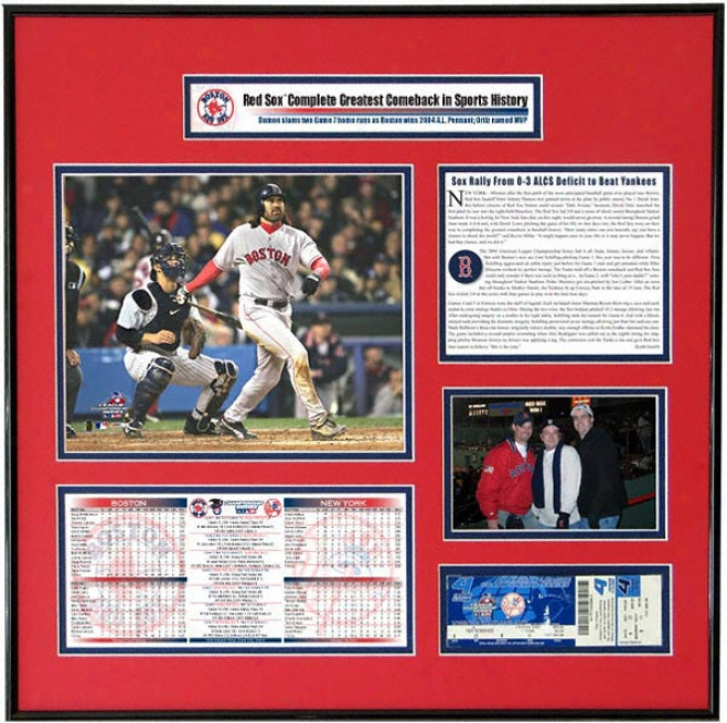 Boston Red Sox - Johnny Damon - 2004 American League Champions Ticket Frame