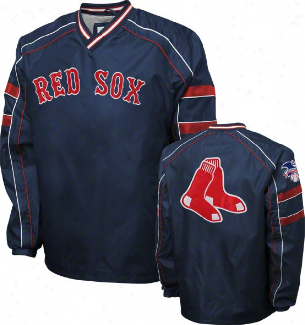 Boston Red Sox Navy V-neck Pullover Jacket