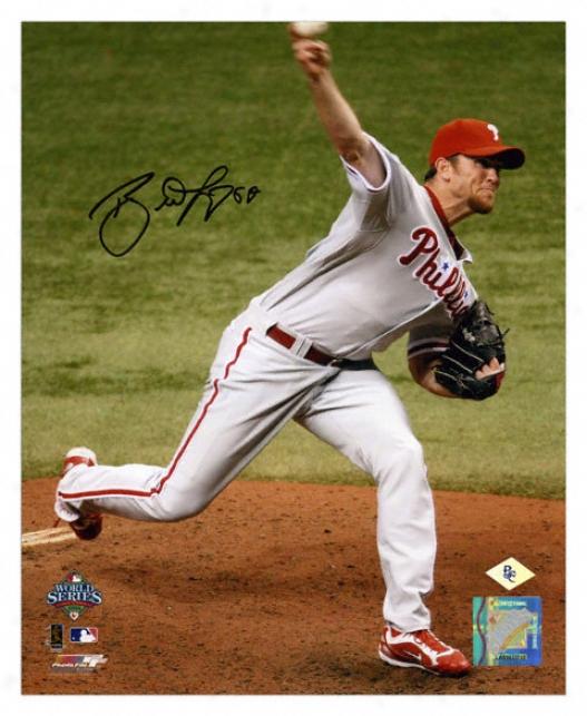 Brad Lidge Philadelphia Phillies - 2008 World Series Pitching - Autographed 8x10 Photograph