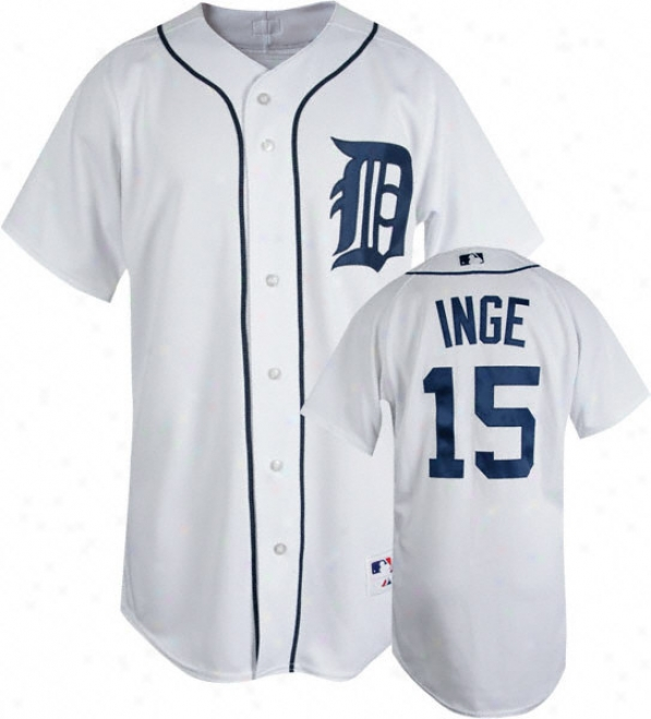 Brandon Inge White Majestic Authentic Home On-field Detroit Tigers Jersey