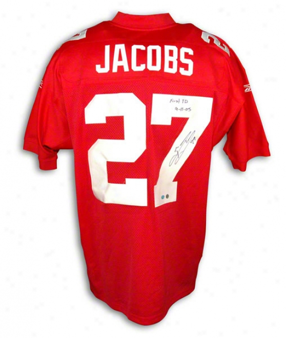Branxon Jacobs Autographed Starting a~ York Giants Red Reebok Authentic Jersey Inscribed &quotfirst Td 9-11-05&quot