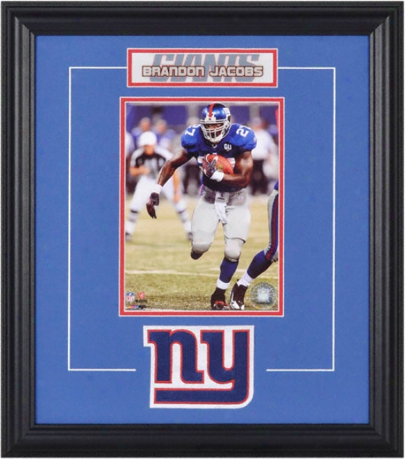 Brandon Jacobs Framed 6x8 Photograph With Team Logo & Plate