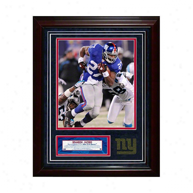 Brandon Jacobs New York Giants 11x14 Framed Collage With Game Used Turf Photo & Nameplate