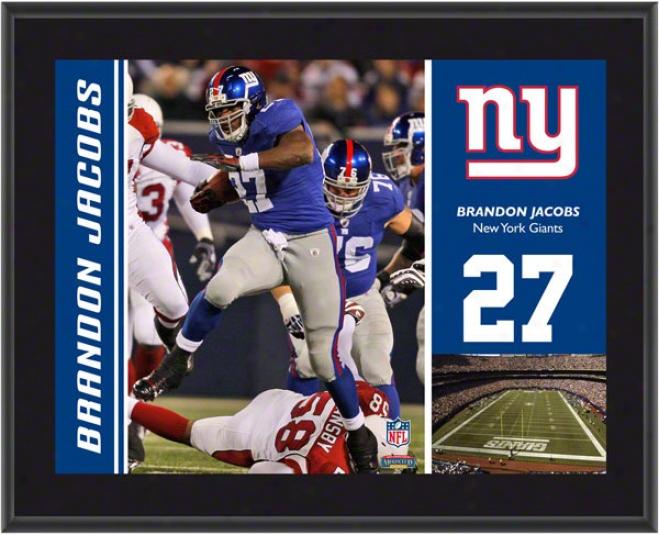 Brandon Jacobs lPaque  Details: New York Giants, Sublimated, 10x13, Nfl Plaque