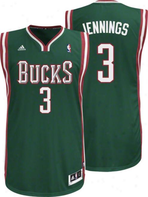 Brandon Jennings Green Adidas Revolution 30 Swingman Milwaukee Bucks Jersey