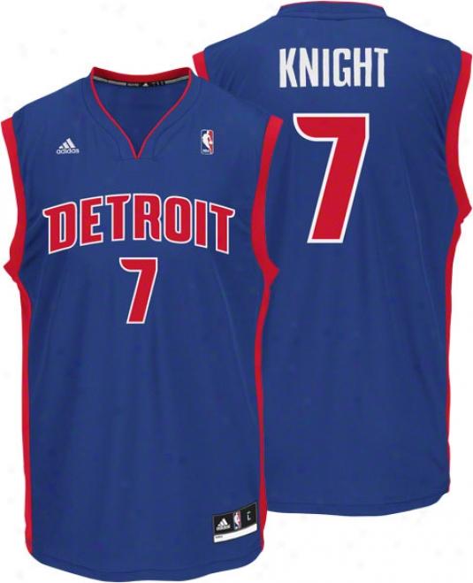 Brandon Knight Jersey: Adidas Revolution 30 Blue eRplica #7 Detroit Pistons Jersey