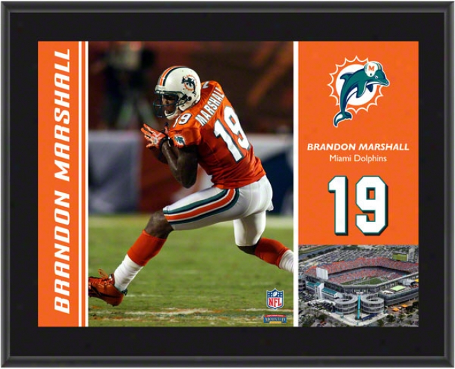 Brandon Marshall Plaqu e Details: Miami Dolphins, Sublimated, 10x13, Nfl Plaque