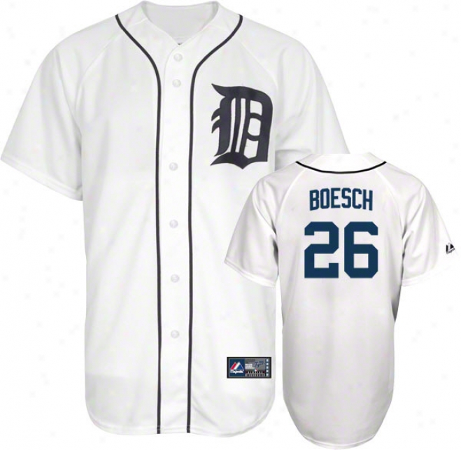 Brennan Boesch Jersey: Adult Home White Replica #26 Detroit Tigers Jersey