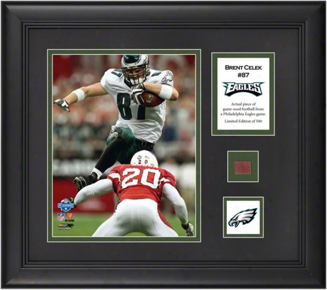 Brent Cellek Framed 8x10 Photograph  Details: Philadelphia Eagles, With Game Used Football Piece And Descriptive Dish