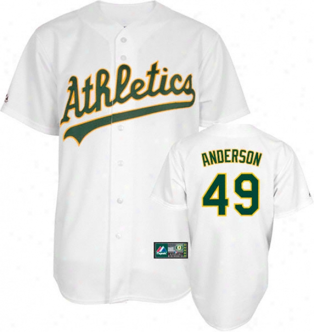 Brett Anderson Jersey: Adult Majestic Home White Replica #49 Oakland Athletics Jersey