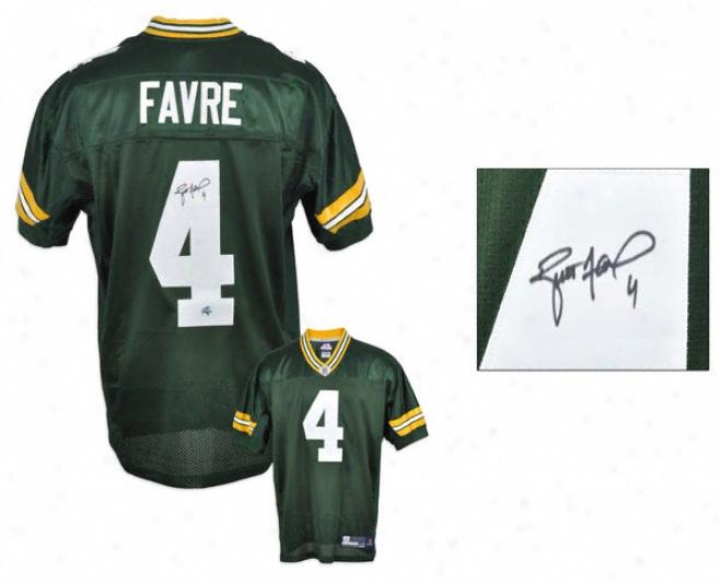 Brett Favre Autographed Jersey  Details:-Green Bay Packers, Green, Reebok