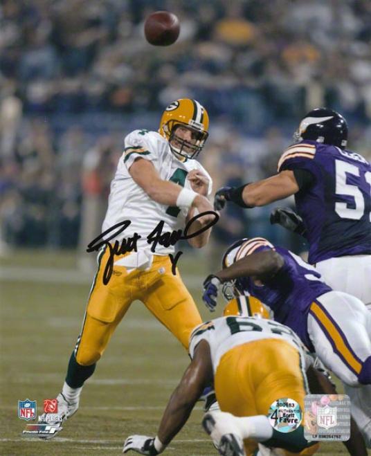 Brett Favre Green Bay-tree Packers - 421st Td Pass - Autographed 8x10 Photograph