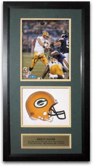 Brett Favre Green Bay Packers Autographed 421st Td Past 8x10 Mini Helmet Shadow Box