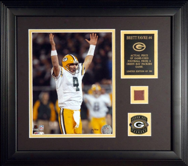 Brett Favre Green Bay Packers Framed 8x10 Photograph With Football Piece And Descriptive Plate