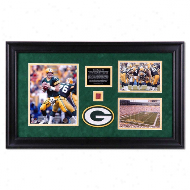 Brett Favre Green Bay Packers Framed Autographed 8x10 Photograph With Pair Unsibned 8x10 Photographs, Game Used Football Piece And Medallion