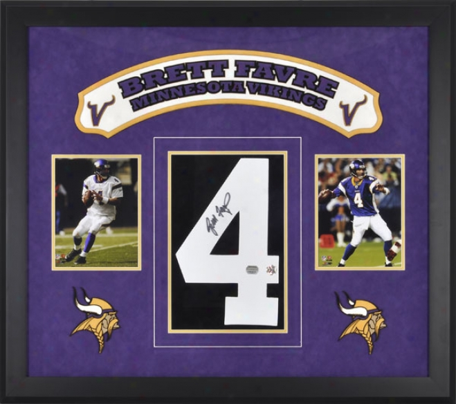Brett Favre Mlnnesota Vikings Framed Autographed Jersey Number With Two Photographs And Laser Engraved Logo Art