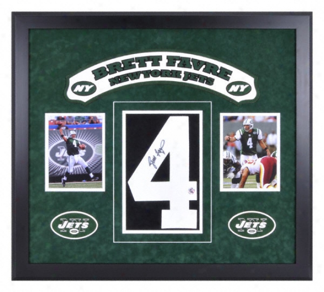 Brett Favre New York Jets Deluxe Framed Autographed #4 Jersey Number With Twi 6x8 Photographs