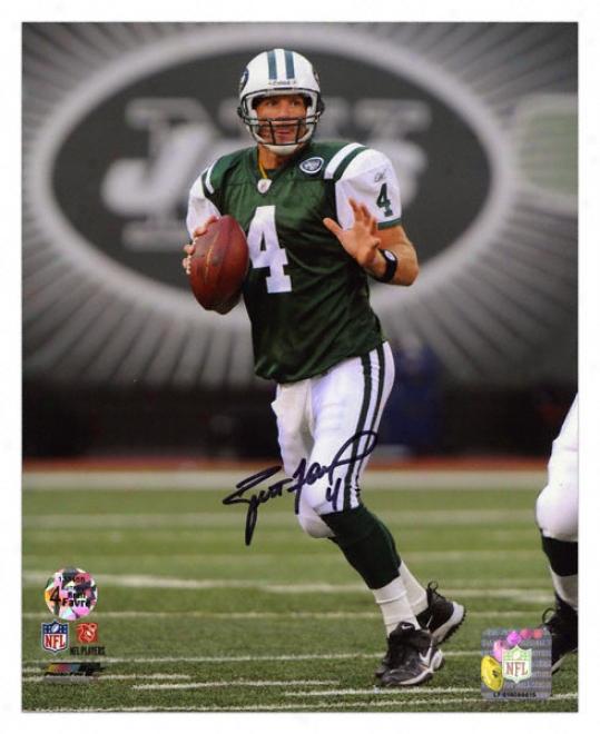 Bret tFavre New York Jets - Drop Back - Autographed 8x10 Photograph