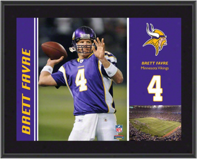 Brett Favre Plaque  Details: Minnesota Vikings, Sublimated, 1Ox13, Nfl Plaque