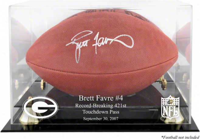 Brett Favre Record-breaker Golden Classic Logo Football Display Case And Mirror Again
