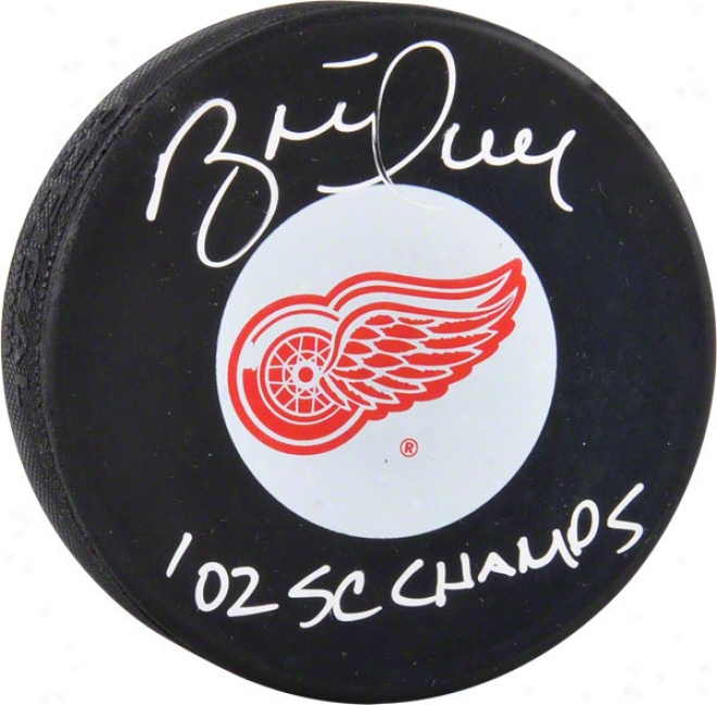 Brett Hull Autographed Detroit Red Wings Logo Hockey Puck  Details: 02 Sc Champs Inscription