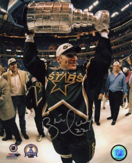 Brett Hull Autographed Photograph  Details: Dallas Stars, With Stanley Cup, 8x10