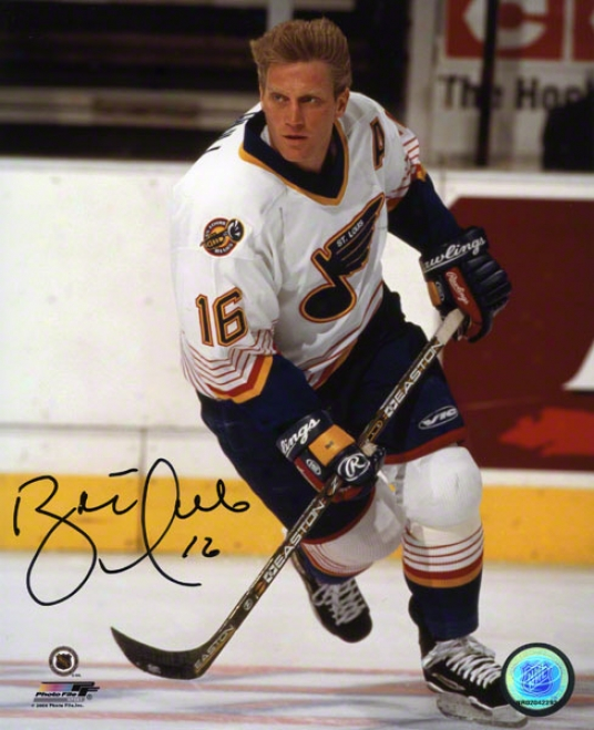 Brett Hull Autographed Photograph  Details: St. Louis Blues, Action, 8x10