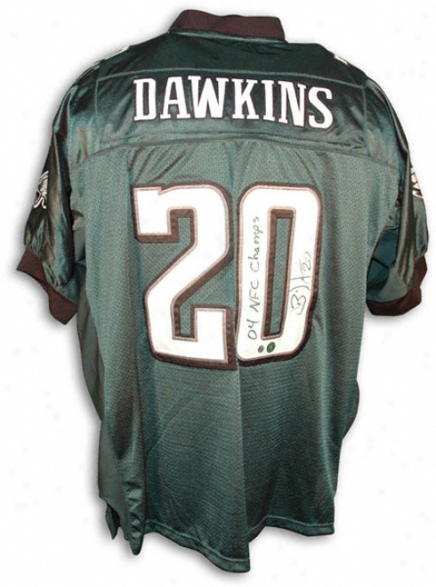 Brian Dawkins Autographed Jersey - Philadelphia Eagles Signed Jersey With 04 Nfc Champs Inscription