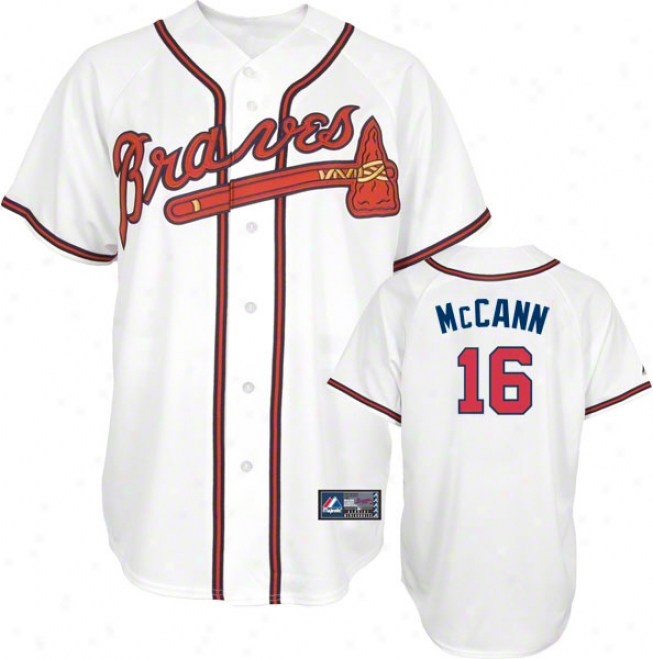 Brian Mccann Jersey: Adult Majestic Home White Replica #16 Atlanta Braves Jersey