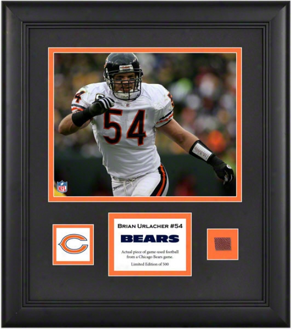 Brian Urlacher Framed 8x10 Photograph  Details: Chicago Bears, With Game Used Football Piece And Descriptive Plate