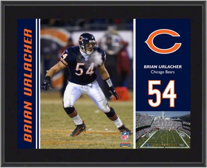 Brian Urlacher Plaque  Details: Chicago Bears, Sublimated, 10x113, Nfl Plaque