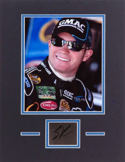 Brian Vickers Matted 8x10 Photograph With Autographed Cut Piece