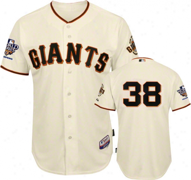 Brian Wilson Jers3y: San Francisco Giants #38 Home Ivory Cool Baseã¢â�žâ¢ Authentic On-fieldJ ersey With 2010 World Series Champs Patch