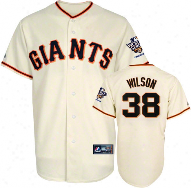 Brian Wilson Jersey: Sna Francisco Giants #38 Home Replica Jersey With 2010 Wotld Series Champs Patch