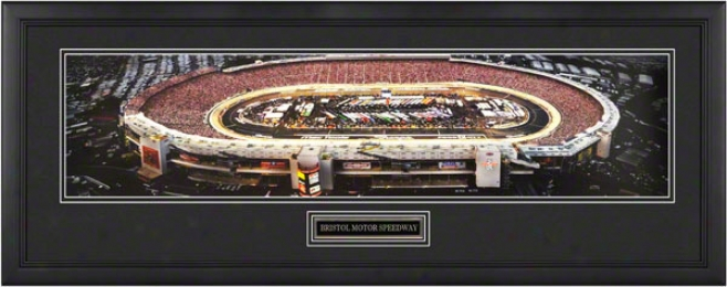 Bristol Motor Speedway - Nighttime - Framed Panoramic With Engraved Plate