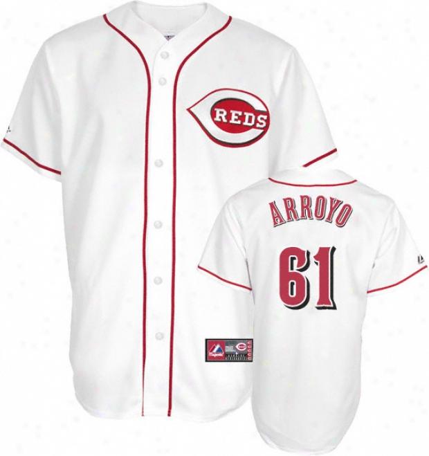 Bronson Arroyo Jersey: Adult Majestic Hkme White Replica #61 Cincinnati Redx Jersey