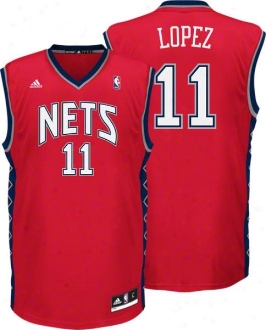 Brook Lopez Jersey: Adidas Revolution 30 Red Replica #11 New Jersye Nets Jersey