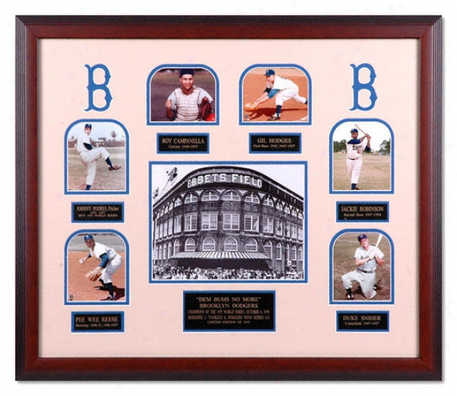 Brooklyn Dodgers - 1955 World Champions - Framed Display Piece With 7 Photos And Nameplates
