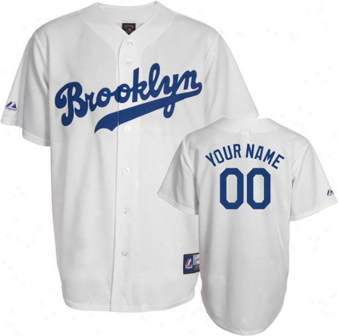 Brooklyn Dodgers Cooperstown White -personalized With Your Name- Replica Jersey