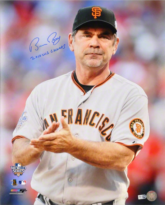 Bruce Bochy Autographed Photograph  Details: San Francisco Giqnts,16x20, 2010 Ws Champs Inscription
