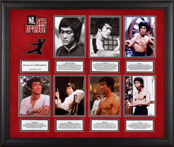 Bruce Lee Framed Presetnation  Details: Affirmations, Limited Edition Of 500