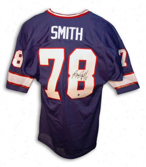 Bruce Smith Autohraphed Throwback Blue Jersey