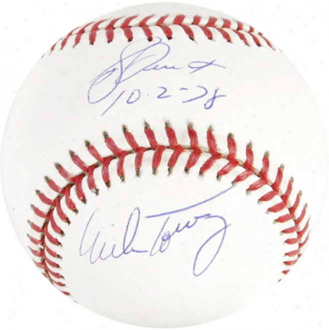 Bucky Dent And Mike Torrez Autographed Baseball  Details: Autographed American LeagueB aseball, 10-2-78 Inscription
