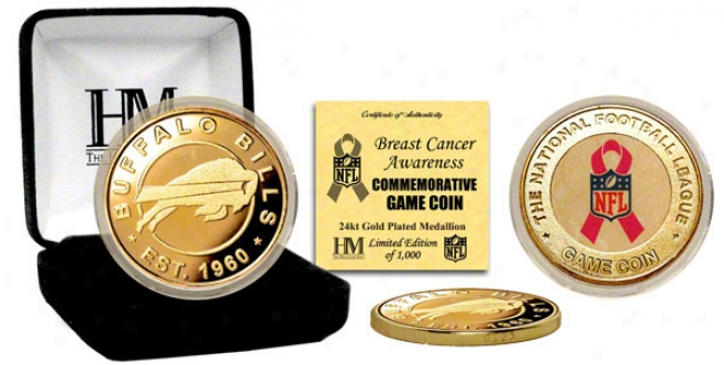 Buffalo Bills Breast Cancer Awareness 24kt Gold Game Coin