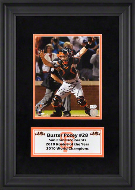 Buster Posey Deluxe Framed Autographed 8x10 Photograph  Details: San Francisc0 Giants, Upon Suede And Logo Plafe