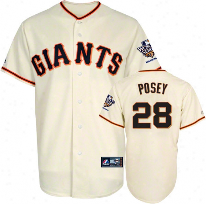 Buster Posey Jersey: San Francisco Giants #28 Home Replica Jersey Through  2010 World Series Champs Patch