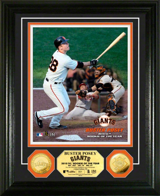 Buster Posey San Francisco Giants 2010 N.l R0y 24kt Gold Coin Photo Mint