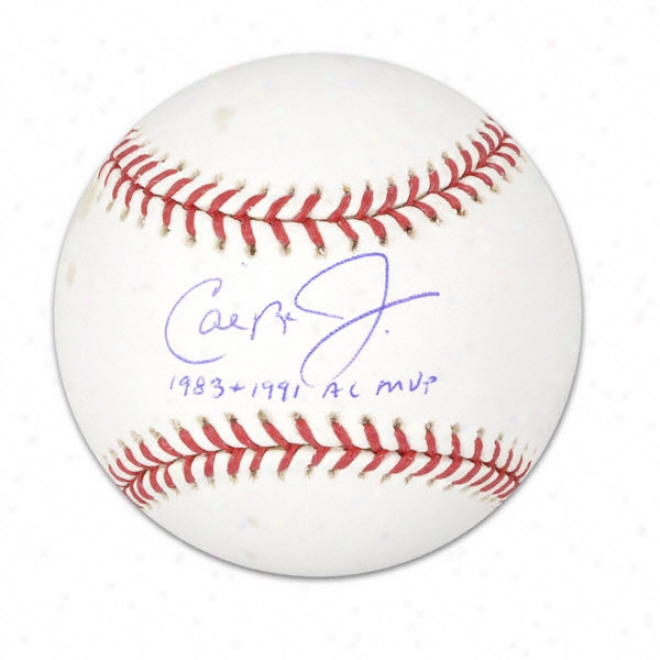 Cal Ripken Jr. Autographed Baseball  Details: 1983/91 Mvp Inscription